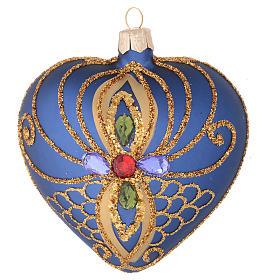 Cuore per Albero di Natale vetro blu decoro oro 100 mm s1