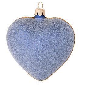 Cuore per Albero di Natale vetro blu decoro oro 100 mm s2