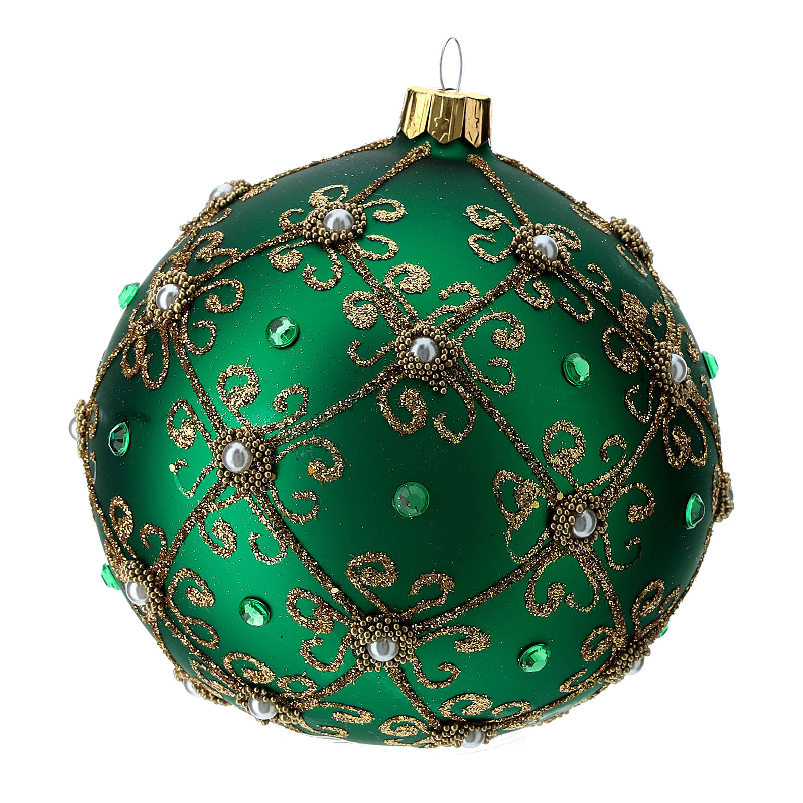 Christmas bauble in green and gold blown glass 100mm 4