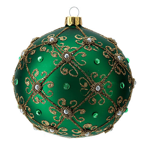 Christmas bauble in green and gold blown glass 100mm 1