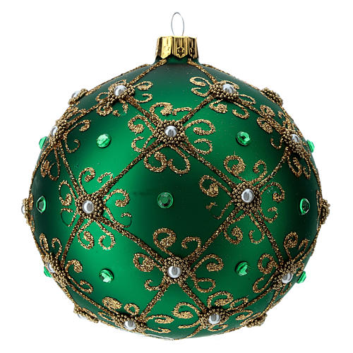 Christmas bauble in green and gold blown glass 100mm 2
