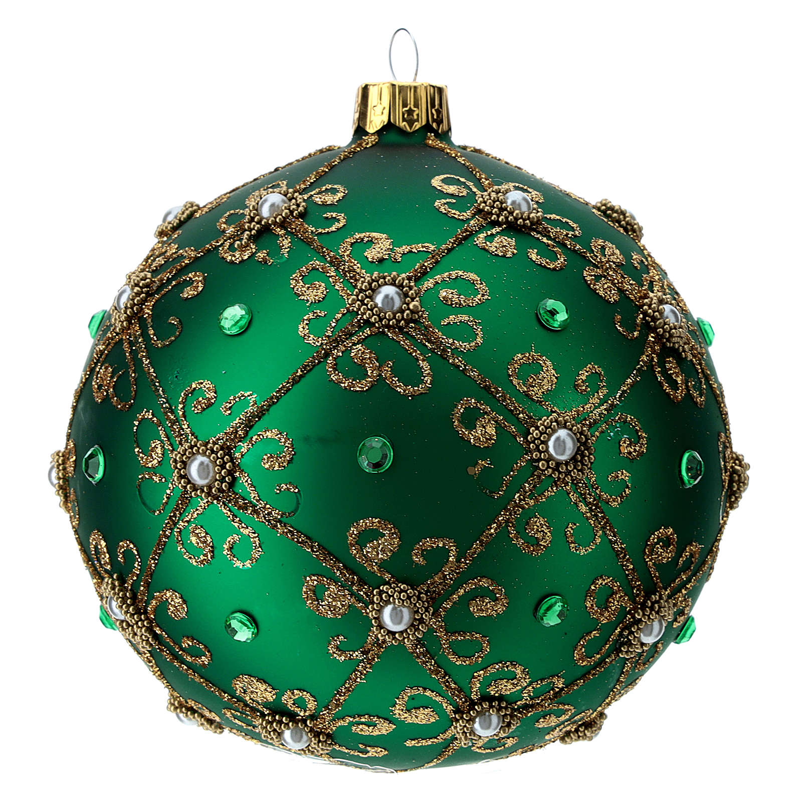 Décoration Noël boule vert et or 100 mm 4