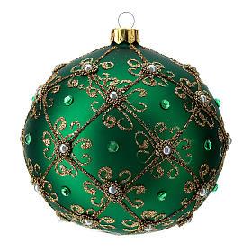 Décoration Noël boule vert et or 100 mm s1