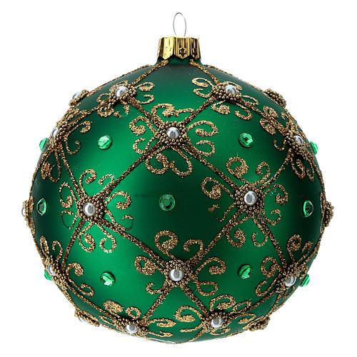 Décoration Noël boule vert et or 100 mm 2