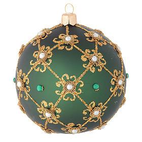 Addobbo Natale palla verde e oro 100 mm s1