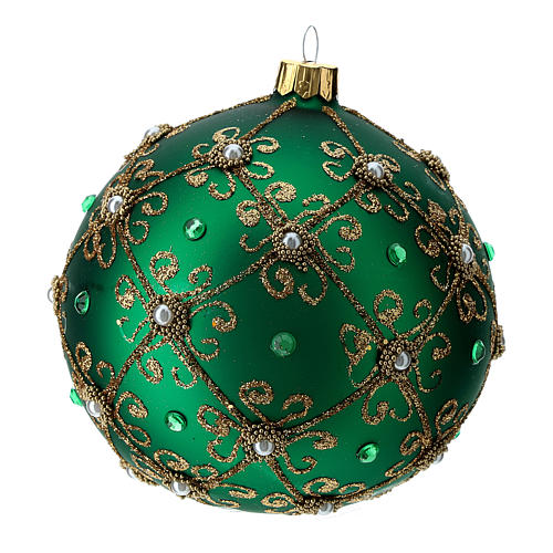 Christmas bauble in green and gold blown glass 100mm 3