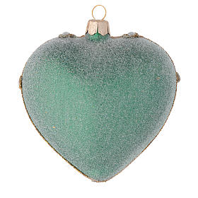 Heart Shaped Christmas bauble in green glass with gold decorations 100mm s2