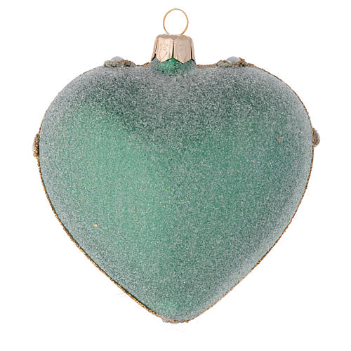 Heart Shaped Christmas bauble in green glass with gold decorations 100mm 2