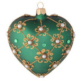 Bola de Navidad corazón verde y oro 100 mm s1