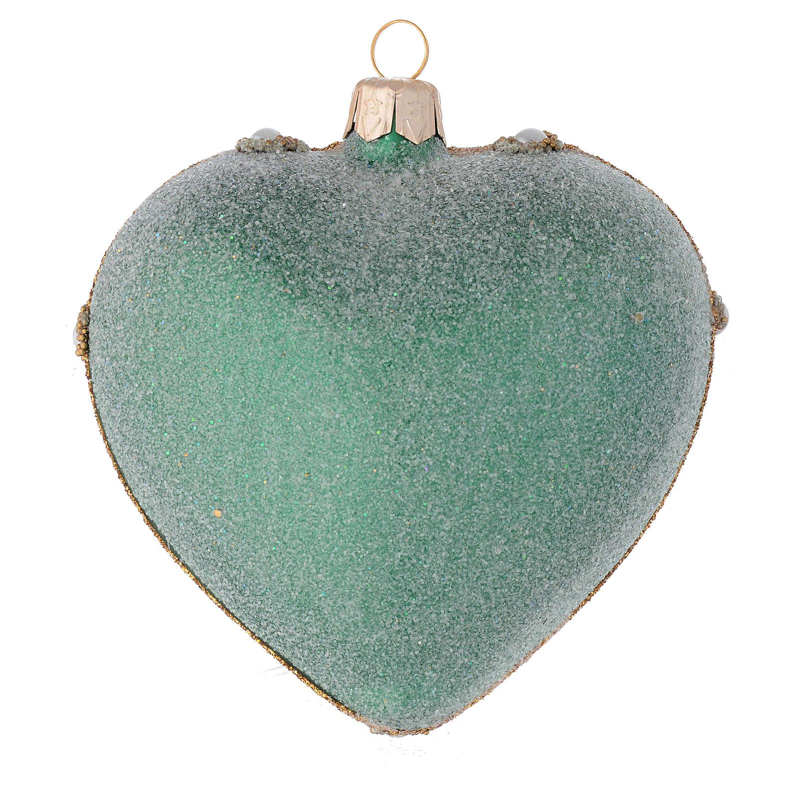 Coeur pour sapin Noël vert et or 100 mm 4