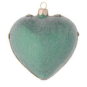 Coeur pour sapin Noël vert et or 100 mm s2