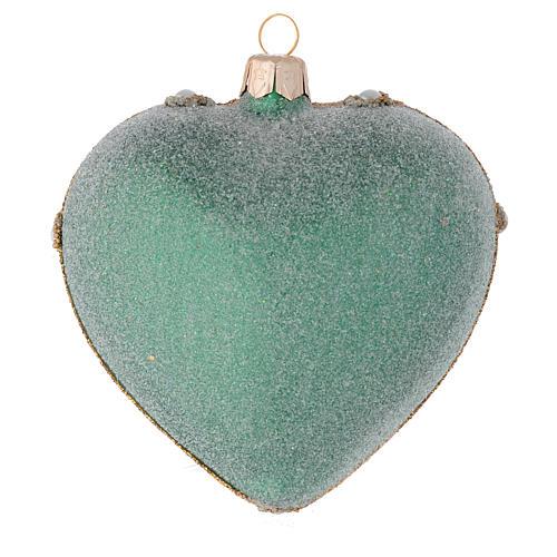Coeur pour sapin Noël vert et or 100 mm 2