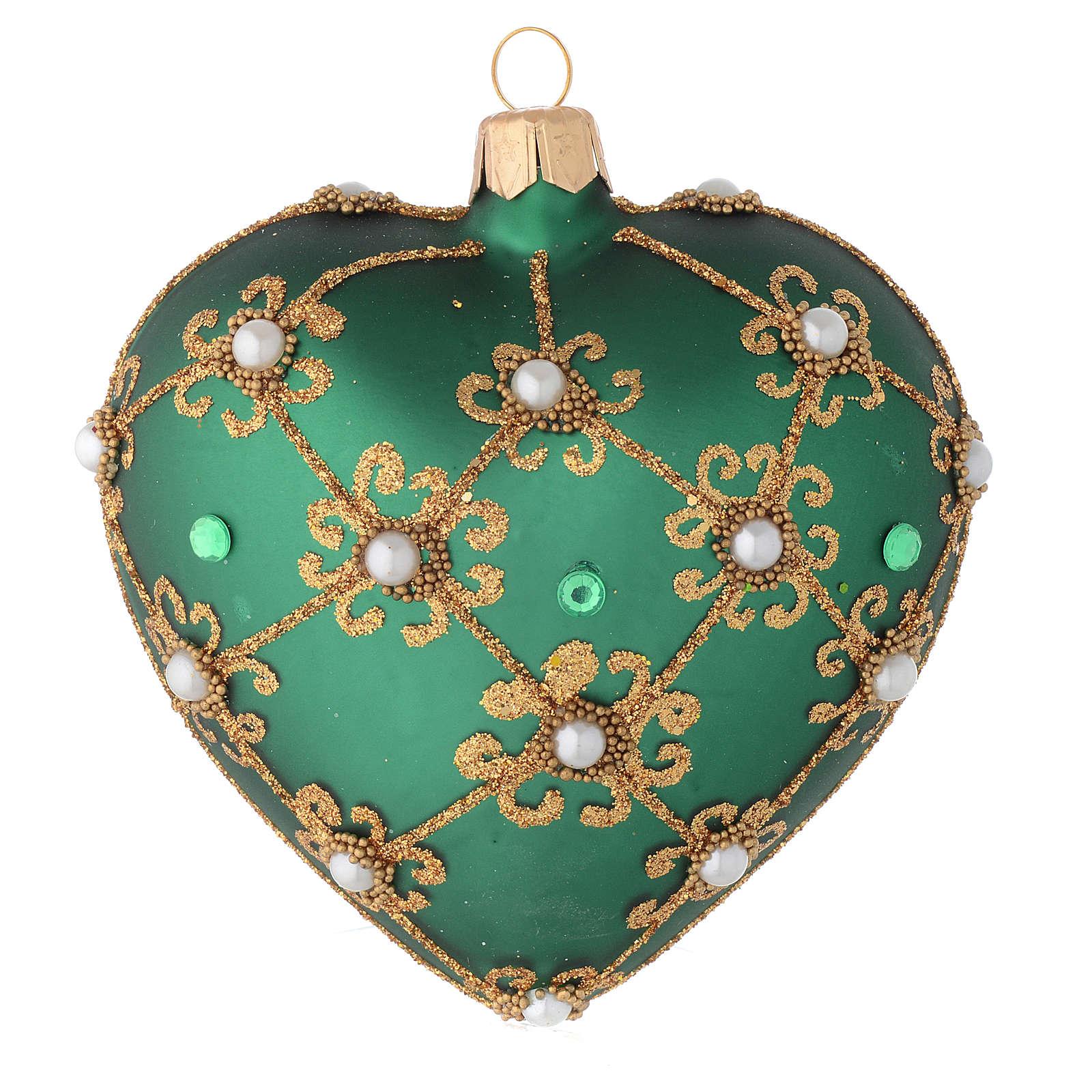 Cuore per Albero Natale verde e oro 100 mm 4