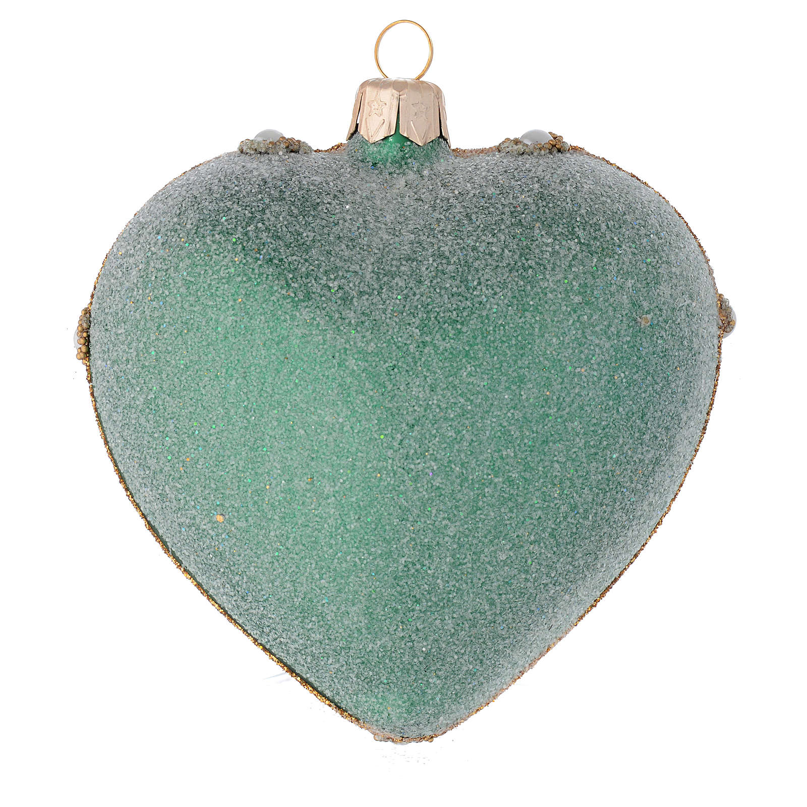 Heart Shaped Christmas bauble in green glass with gold decorations 100mm 4