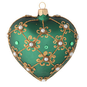 Heart Shaped Christmas bauble in green glass with gold decorations 100mm s1