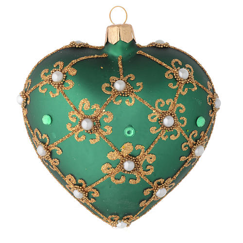 Heart Shaped Christmas bauble in green glass with gold decorations 100mm 1