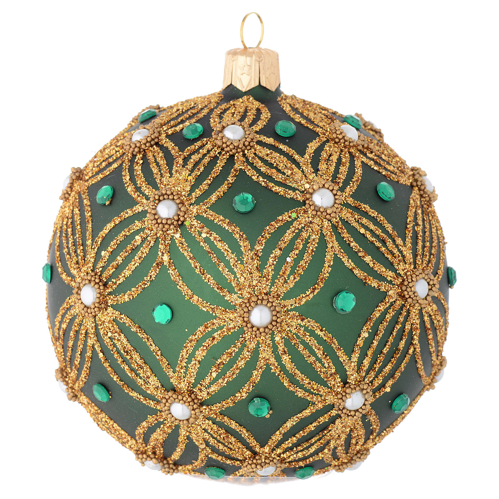 Christmas bauble in green blown glass with gold decoration 100mm 4
