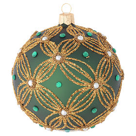 Christmas bauble in green blown glass with gold decoration 100mm s1