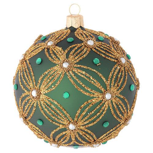 Bola navidad vidrio soplado verde decoraciones oro 100 mm 1