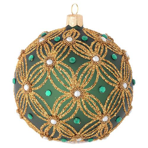 Bola navidad vidrio soplado verde decoraciones oro 100 mm 2