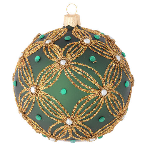 Christmas bauble in green blown glass with gold decoration 100mm 1