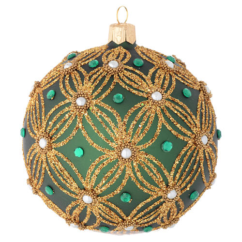 Christmas bauble in green blown glass with gold decoration 100mm 2