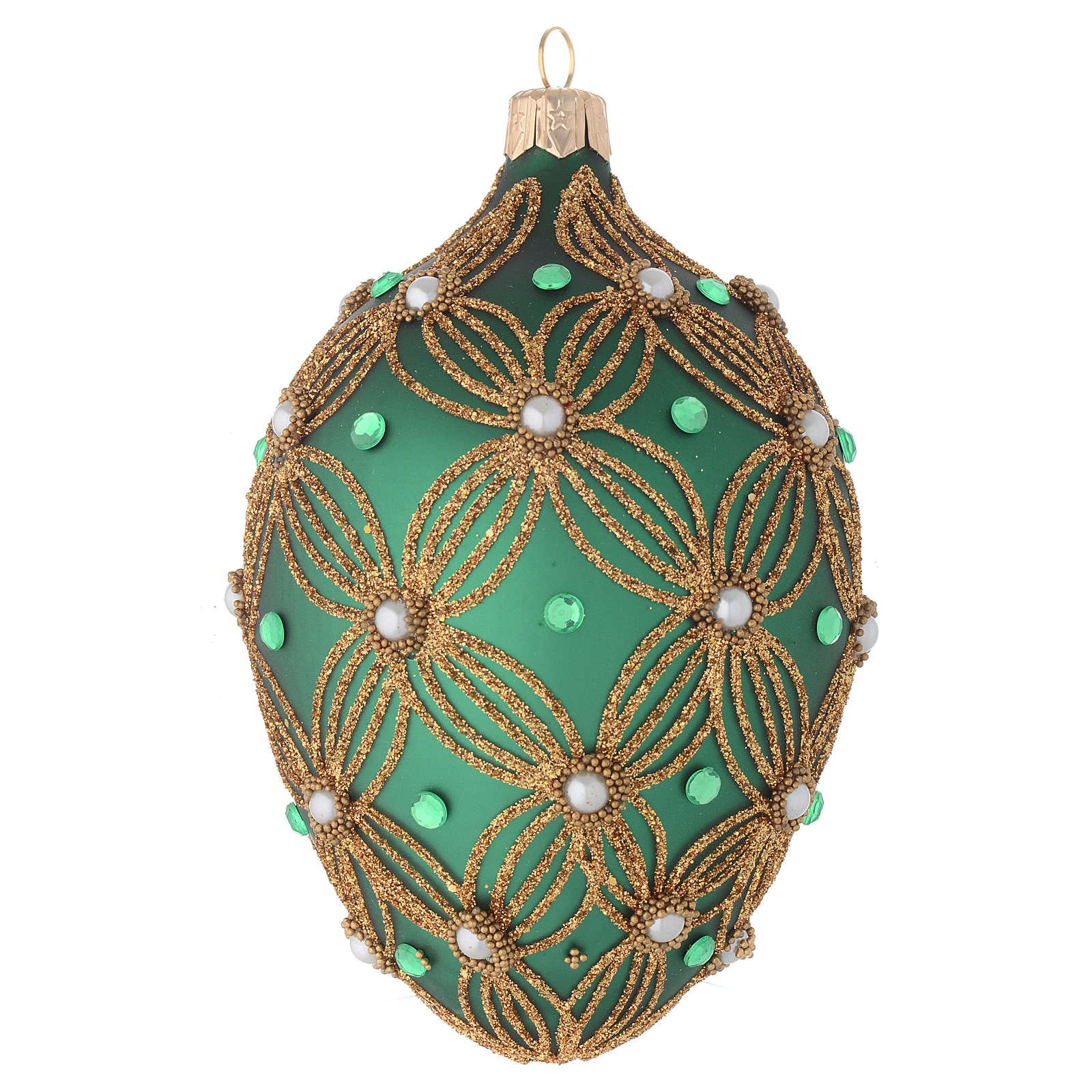 Bola de Navidad oval de vidrio soplado verde y oro 130 mm 4