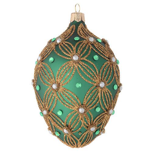 Bola de Navidad oval de vidrio soplado verde y oro 130 mm 1