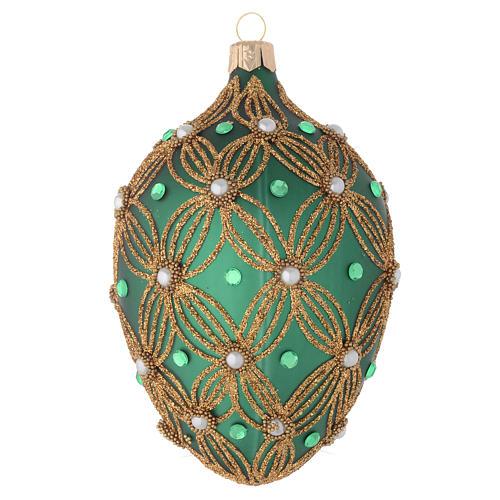 Bola de Navidad oval de vidrio soplado verde y oro 130 mm 2