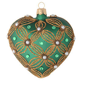 Heart Shaped Christmas bauble in green blown glass with gold decorations 100mm s1