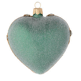 Heart Shaped Christmas bauble in green blown glass with gold decorations 100mm s2