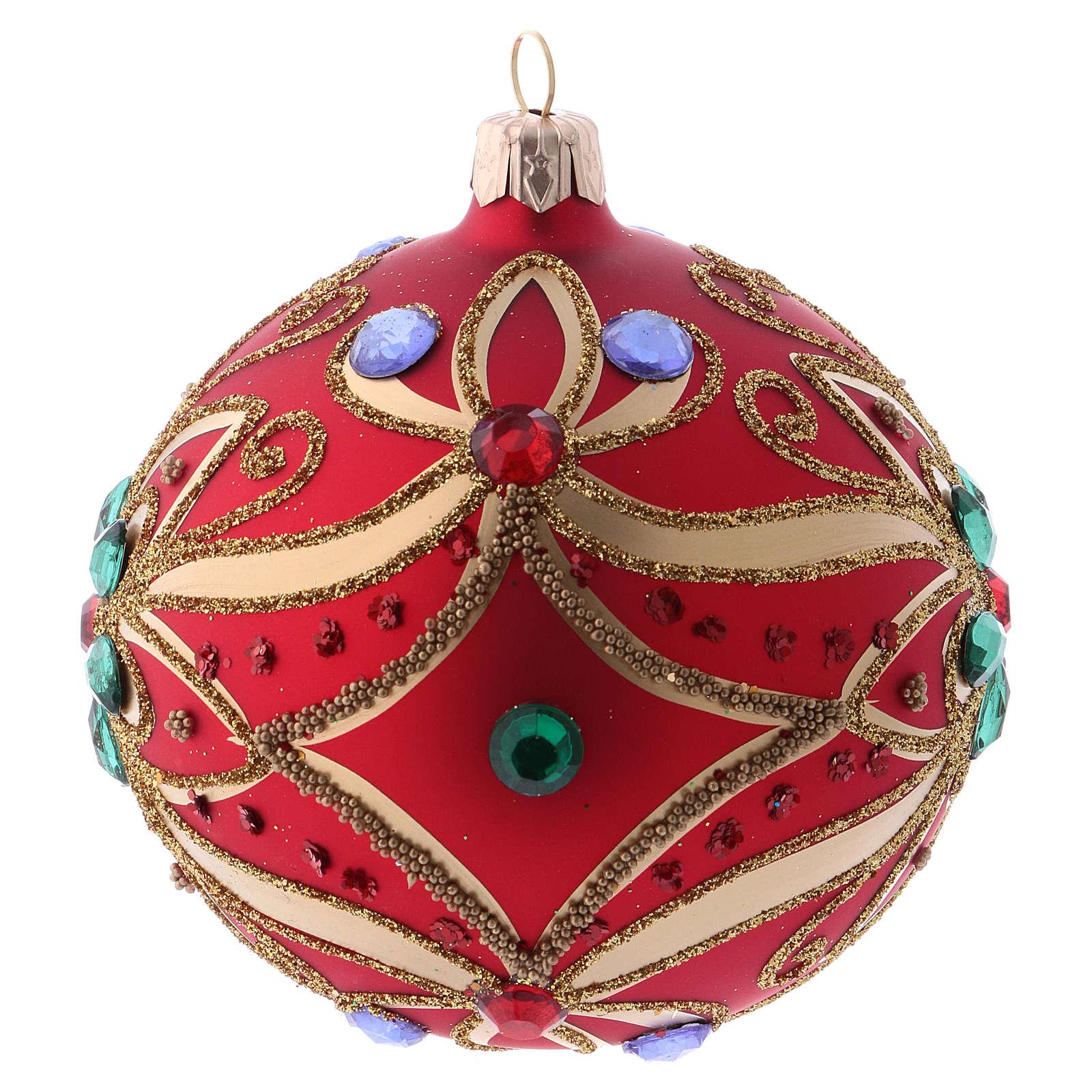 Bola de Navidad de vidrio rojo y decoración floral verde 100 mm 4