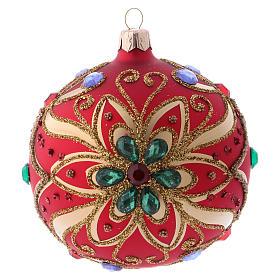 Bola de Navidad de vidrio rojo y decoración floral verde 100 mm s1