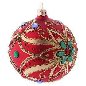 Bola de Navidad de vidrio rojo y decoración floral verde 100 mm s3