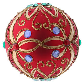 Bola de Navidad de vidrio rojo y decoración floral verde 100 mm s4