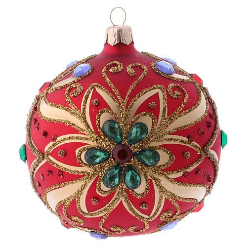 Bola de Navidad de vidrio rojo y decoración floral verde 100 mm 1