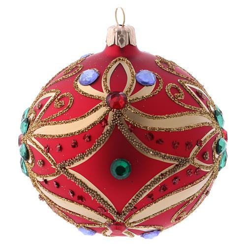 Bola de Navidad de vidrio rojo y decoración floral verde 100 mm 2