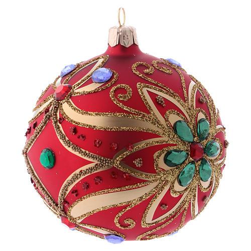 Bola de Navidad de vidrio rojo y decoración floral verde 100 mm 3