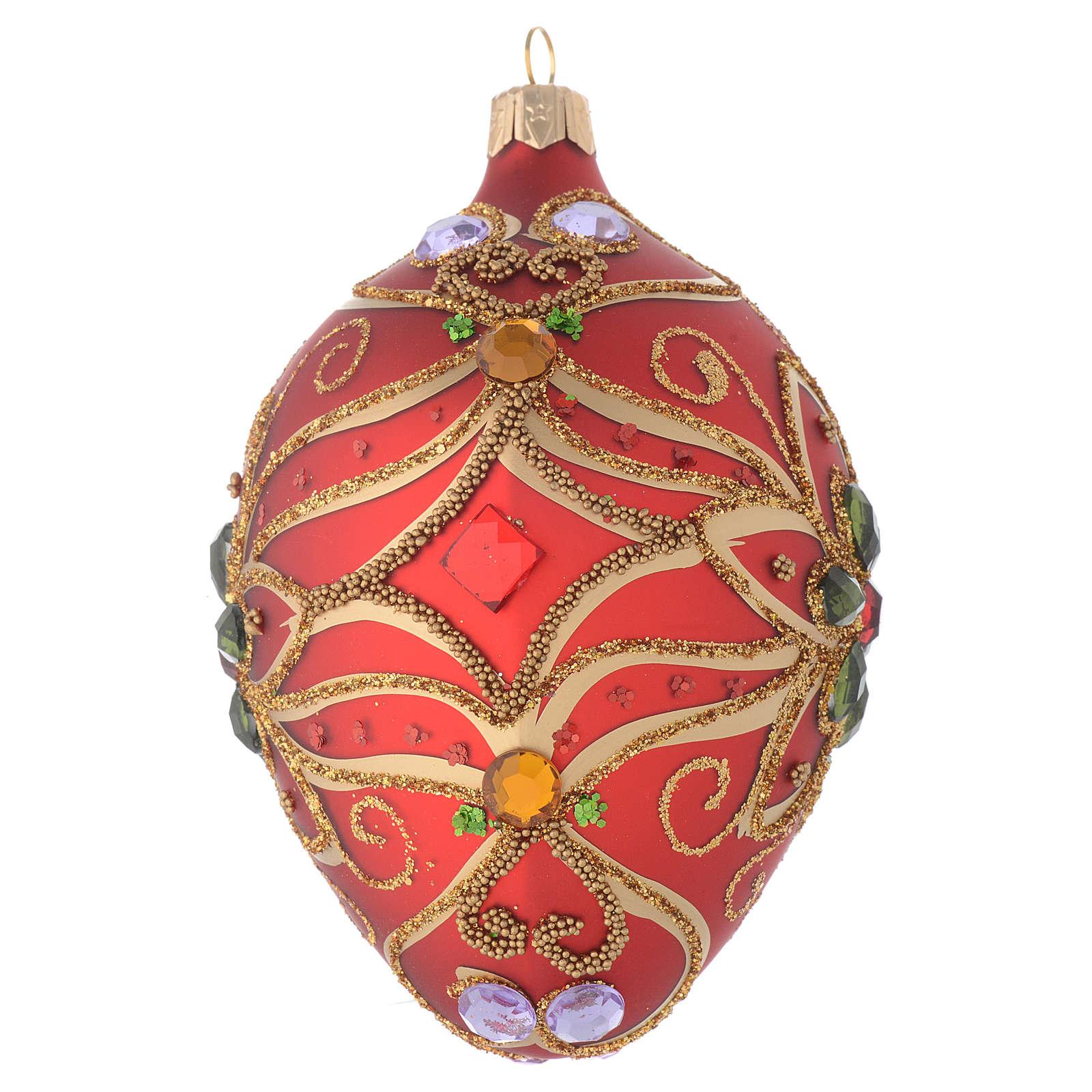 Palla uovo vetro rosso e verde fiore 130 mm 4