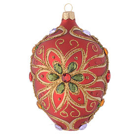 Palla uovo vetro rosso e verde fiore 130 mm s1