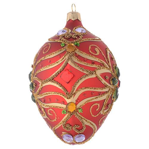 Palla uovo vetro rosso e verde fiore 130 mm 2