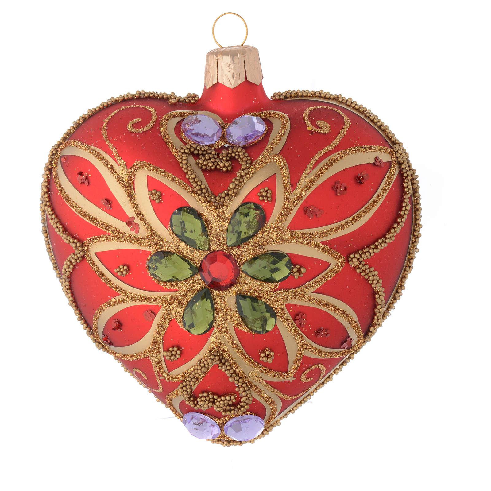 Bola de Navidad corazón rojo y decoración floral verde 100 mm 4