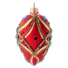 Bola de Navidad corazón rojo y decoración floral verde 100 mm s2
