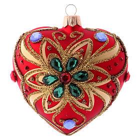 Bola de Navidad corazón rojo y decoración floral verde 100 mm s3