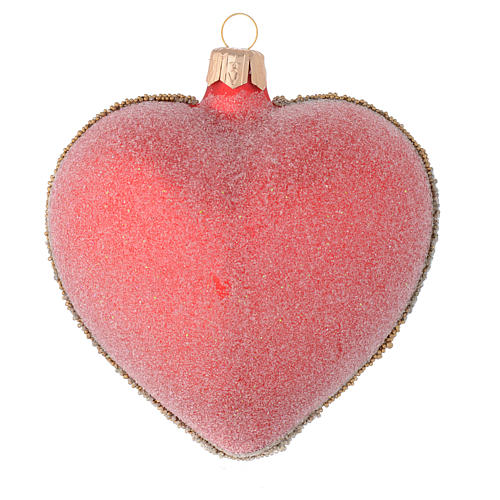 Bola de Navidad corazón rojo y decoración floral verde 100 mm 2