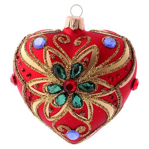 Bola de Navidad corazón rojo y decoración floral verde 100 mm 1