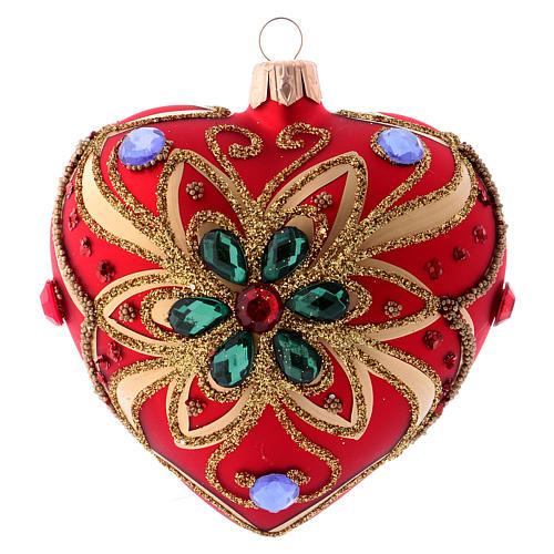 Bola de Navidad corazón rojo y decoración floral verde 100 mm 3