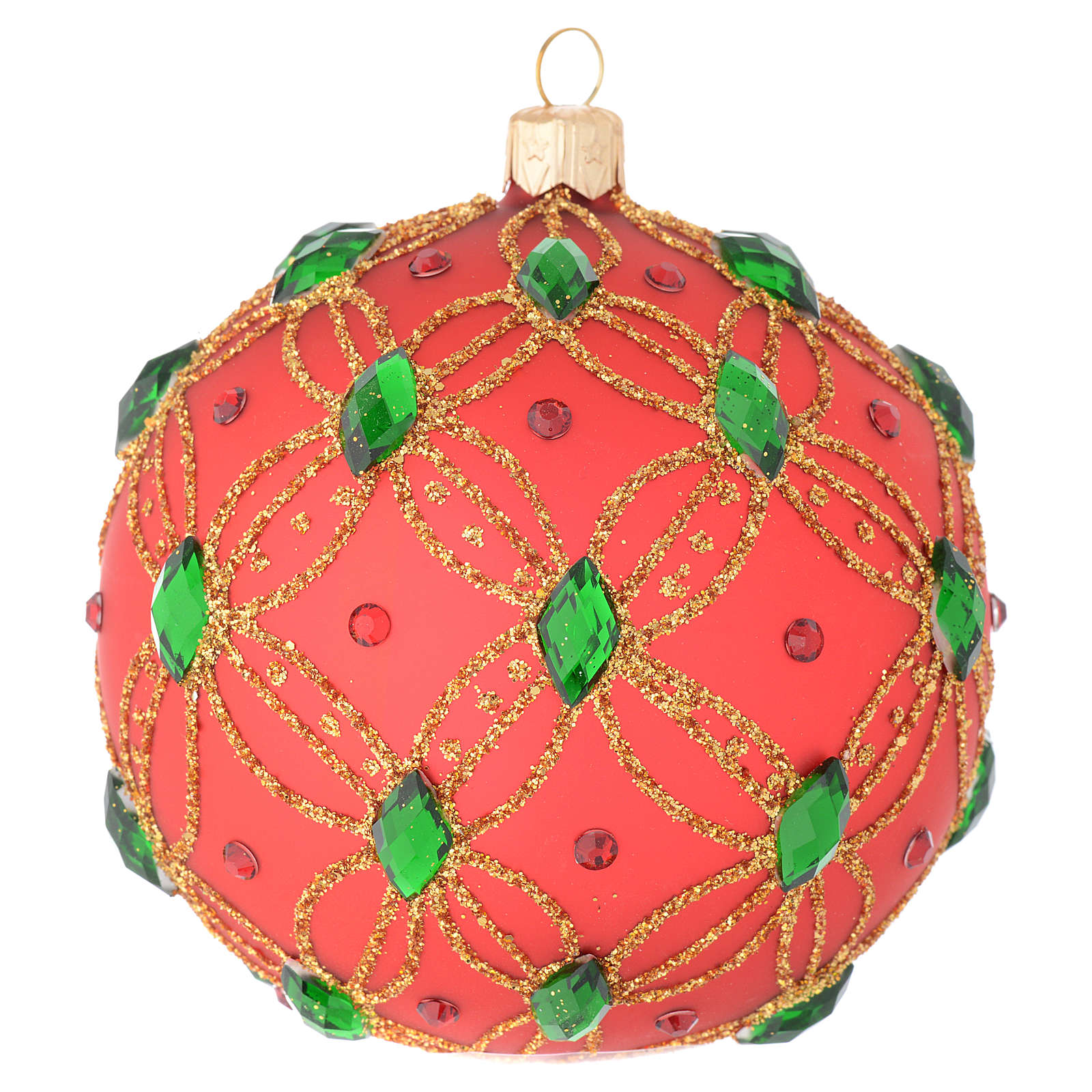 Christmas bauble in red blown glass with green stones 100mm 4