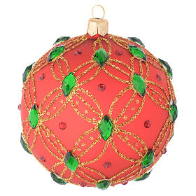 Christmas bauble in red blown glass with green stones 100mm s1