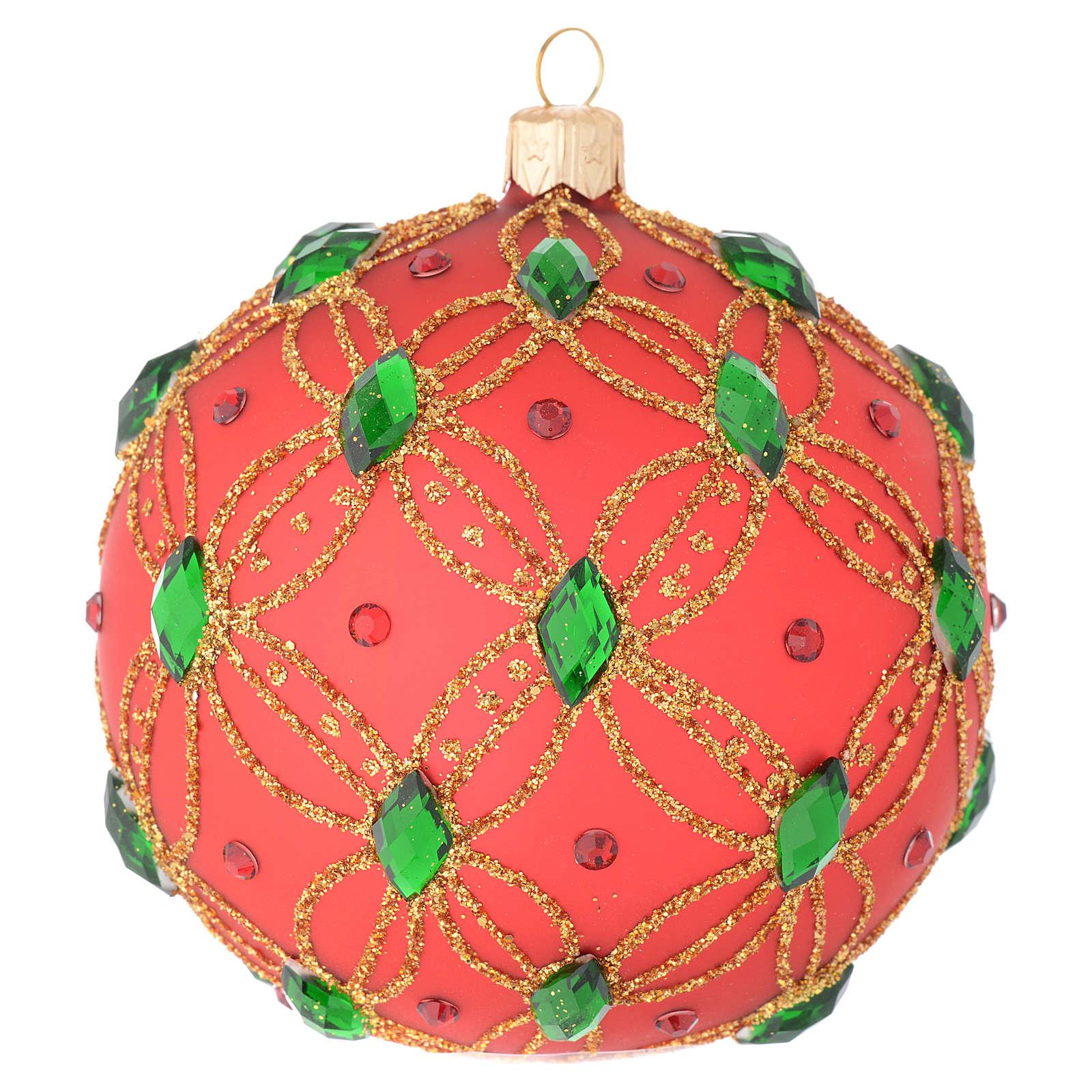 Bola de Navidad de vidrio soplado rojo y piedras verdes 100 mm 4